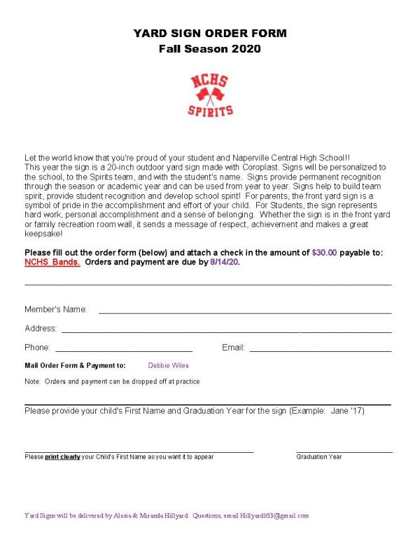 Spirits Yard Sign Order Form